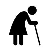 Elder lady pictogram Royalty Free Stock Images
