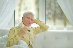 Elder man making inhalation Stock Photo