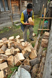 Elder man prepares the firewood for wintertime Stock Photos