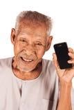 Elder man use smart phone Royalty Free Stock Image