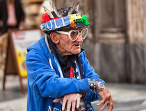 Elder Napoli fan with goggles and amulets. stock photos
