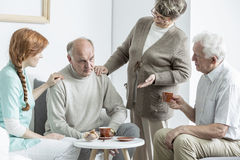 Elder at nursing home. Elder people talking at nursing home Stock Images