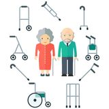 Elder people and walkers. Elderly couple and equipment for moving and walking. Flat vector cartoon illustration. Objects isolated on a white background Stock Image