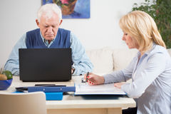 Elder people at work royalty free stock photos