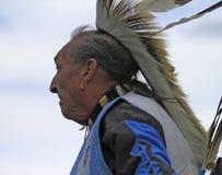 Elder Pow wow man dancer. American Indian elder man dancing at a pow wow royalty free stock image