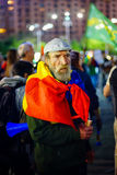 Elder protester portrait, Bucharest, Romania Royalty Free Stock Images
