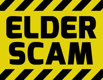 Elder Scam sign. Yellow with stripes, road sign variation. Bright vivid sign with warning message Scam alert royalty free illustration