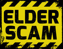 Elder Scam sign. Yellow with stripes, road sign variation. Bright vivid sign with warning message Scam alert vector illustration
