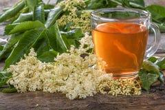 Elder  tea. Domestic healthy elder  tea on a rustic wooden table Stock Photography
