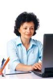 Elder Woman With Laptop. Stock Photo