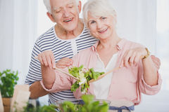 Elder woman and man preparing salad Royalty Free Stock Photo