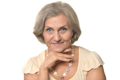 Elder woman on a white Royalty Free Stock Photo