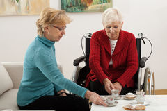 Elder women conversation Royalty Free Stock Images