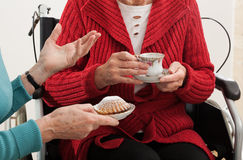 Elder women conversation Stock Photos