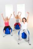 Elder women exercising on fitness balls Stock Photo