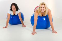 Elder women exercising on fitness balls Stock Images