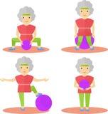 Elder women sport exercises ball Royalty Free Stock Image