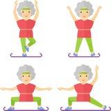 Elder women sport exercises yoga Stock Photo