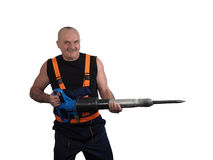The elder worker with the jackhammer Royalty Free Stock Photo