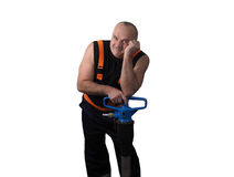 The elder worker with the jackhammer Royalty Free Stock Image