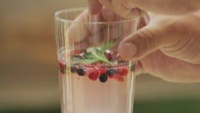 Elderberry χυμός με τα άγρια μούρα απόθεμα βίντεο