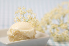 Elderberry blossom ice cream ball with fresh elderflowers Royalty Free Stock Photo