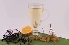 Elderberry Tea with Lemon. On a white background stock photos