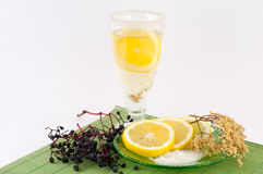 Elderberry Tea with Lemon. On a white background stock photo