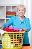 Elderdly lady with washing Stock Image