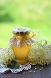 Elderflower honey in jar Stock Photos