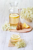Elderflower juice with lemon Stock Photos