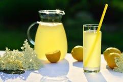 Elderflower juice with lemon on table in a garden. Homemade elderflower juice with lemon on table in a garden. Glass of summer cold drink with lemon Stock Photo