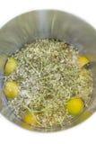 Elderflower, lemon and water in a pot Stock Images