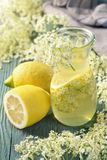 Elderflower syrup. In a glass stock images