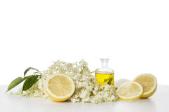 Elderflower syrup, preparation and ingredients, isolated Stock Image