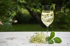 从elderflower糖浆,汁液,汽酒,苏打a的软饮料 库存图片