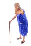 Elderly. Holding a cane on white background royalty free stock photos