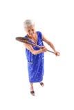 Elderly. Holding a cane on white background royalty free stock image