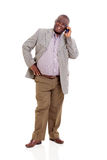 Elderly african man mobile phone Stock Photos