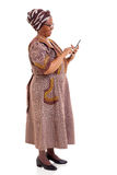 Elderly african woman tablet Royalty Free Stock Image
