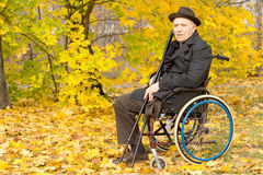 Elderly amputee enjoying a day in a fall park Stock Photography