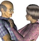 Elderly Asian Couple. 3d render of an elderly Asian couple Stock Images