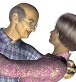 Elderly Asian Couple. 3d render of an elderly Asian couple Royalty Free Stock Photos