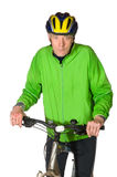 Elderly biking man royalty free stock photo