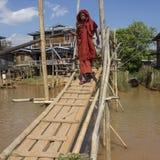 Elderly Buddhist Monk - Ywama - Inle Lake - Myanma Royalty Free Stock Photo