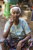 Elderly Burmese Woman - Yangon - Myanmar Stock Photos