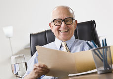 Elderly Business Man Smiling stock photography