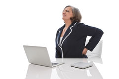 Elderly business woman backache Stock Images