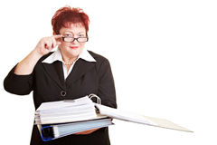 Elderly business woman with glasses Royalty Free Stock Photos