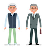 Elderly businessman in a business suit and a tracksuit for the game of Golf. Stock Photos